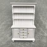 1/12 Dollhouse Miniature Furniture Multifunction Wood Cabinet Bookcase(White)