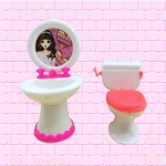 3 PCS Barbie Doll House Plastic Accessories Set Wash Basin Toilet