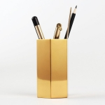 Home Office Hexagon Gold Flower Vase Pen Holder Desktop Storage Container