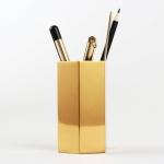 Home Office Hexagon Gold Flower Vase Pen Holder Desktop Storage Container