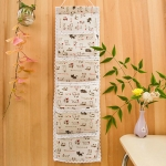 Linen Cotton 5 Pocket Wall Hanging Bag Storage Organizer for Sundries Bra Socks Back Door Organizer Hanging Bag(Beige Cat)