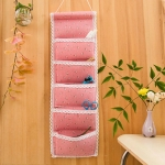 Linen Cotton 5 Pocket Wall Hanging Bag Storage Organizer for Sundries Bra Socks Back Door Organizer Hanging Bag(Red Floral)