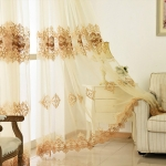 Water Soluble Embroidery Yarn Curtain Living Room Door Balcony Home Decoration(Beige Yellow)