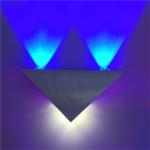 3W Aluminum Triangle Wall Lamp Home Lighting Indoor Outdoor Decoration Light, AC 85-265V(Blue Light )
