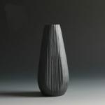 Black Ceramic Vase Retro Vase Container Gradient Handmade Ceramic Vase, Style:European Bottle