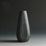 Black Ceramic Vase Retro Vase Container Gradient Handmade Ceramic Vase, Style:European Bottle