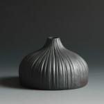 Black Ceramic Vase Retro Vase Container Gradient Handmade Ceramic Vase, Style:Jade Pot Bottle
