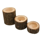 Wooden Crafts Ornaments Creative Bark Wood Pile Candle Holder Home Decoration, Without Candle, Style:Set