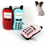 WJ010500 Pet Dog Cat Toys Phone Shaped Chew Play Squeaky Plush Practice Toys(Random Color Delivery)