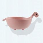 Dinosaur Anti-Slip Baby Dinner Plate Baby Bamboo Tableware( Pink)