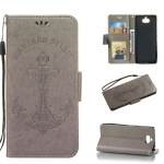 Pressed Printing Mermaid Anchor Pattern Horizontal Flip PU Leather Case for Sony Xperia 10 / XA3, with Holder & Card Slots & Wallet & Photo Frame(Grey)