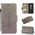 Pressed Printing Mermaid Anchor Pattern Horizontal Flip PU Leather Case for Sony Xperia XZ3, with Holder & Card Slots & Wallet & Photo Frame (Grey)
