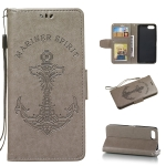 Pressed Printing Mermaid Anchor Pattern Horizontal Flip PU Leather Case for Sony Xperia XZ4 Comact, with Holder & Card Slots & Wallet & Photo Frame (Grey)