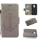 Pressed Printing Mermaid Anchor Pattern Horizontal Flip PU Leather Case for Xiaomi Pocophone F1, with Holder & Card Slots & Wallet & Photo Frame (Grey)
