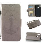 Pressed Printing Mermaid Anchor Pattern Horizontal Flip PU Leather Case for Huawei Nova 3i / P Smart Plus, with Holder & Card Slots & Wallet & Photo Frame (Grey)