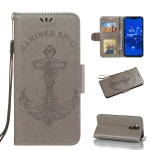 Pressed Printing Mermaid Anchor Pattern Horizontal Flip PU Leather Case for Huawei Mate 20 Lite / Maimang 7, with Holder & Card Slots & Wallet & Photo Frame (Grey)