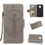 Pressed Printing Mermaid Anchor Pattern Horizontal Flip PU Leather Case for Galaxy A6 (2018), with Holder & Card Slots & Wallet & Photo Frame (Grey)