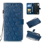Pressed Printing Rattan Flower Pattern Horizontal Flip PU Leather Case for Galaxy M10 / A10, with Holder & Card Slots & Wallet & Photo Frame (Dark Blue)