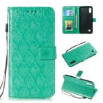 Pressed Printing Rattan Flower Pattern Horizontal Flip PU Leather Case for Galaxy M10 / A10, with Holder & Card Slots & Wallet & Photo Frame (Green)
