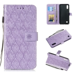Pressed Printing Rattan Flower Pattern Horizontal Flip PU Leather Case for Galaxy M10 / A10, with Holder & Card Slots & Wallet & Photo Frame (Purple)
