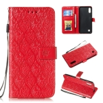 Pressed Printing Rattan Flower Pattern Horizontal Flip PU Leather Case for Galaxy M10 / A10, with Holder & Card Slots & Wallet & Photo Frame (Red)