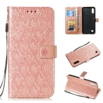 Pressed Printing Rattan Flower Pattern Horizontal Flip PU Leather Case for Galaxy M10 / A10, with Holder & Card Slots & Wallet & Photo Frame (Rose Gold)