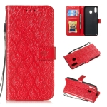 Pressed Printing Rattan Flower Pattern Horizontal Flip PU Leather Case for Galaxy M20, with Holder & Card Slots & Wallet & Photo Frame (Red)