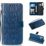 Pressed Printing Rattan Flower Pattern Horizontal Flip PU Leather Case for Galaxy M30, with Holder & Card Slots & Wallet & Photo Frame (Dark Blue)