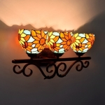 YWXLight Sun Flower Glass Three Heads Corridor Bar Restaurant Pastoral Bathroom Mirror Front Decoration Light (EU Plug)