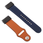 For Garmin Fenix 5X Color-blocking Leather Watchband (Dark Blue)