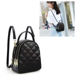Rhombus Texture PU Leather Double Shoulder School Bag Travel Backpack, Size: L (Black)