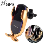 Car QC Fast Charging QI Standard GPS Automatic Induction Wireless Charger Air Vent Bracket (Gold)