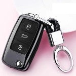 Electroplating TPU Single-shell Car Key Case with Key Ring for Volkswagen Lavida / SAGITAR / Jetta / C-TREK / BORA / Tiguan / Santana / POLO (Black)