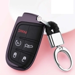 Electroplating TPU Single-shell Car Key Case with Key Ring for Jeep Compass / Cherokee / Renegade / Dodge / JCUV / Grand Cherokee (Black)