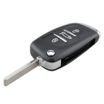 For PEUGEOT Car Keys Replacement 3 Buttons Car Key Case with Grooved and Holder
