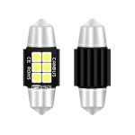 2 PCS 31mm DC12V-24V 3W 6000K 660LM 6LEDs SMD-3030 Car Reading Lamp / License Plate Light