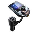 D4 Vehicle Bluetooth 5.0 Hands-free Car Kit QC3.0 FM Transmitter MP3 Audio Player (Mint Green)