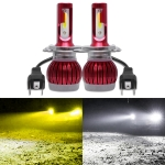 2 PCS H4 DC9-36V / 36W / 6000K(High Beam) 3000K(Low Beam) / 8000LM IP68 Car Double Color LED Headlight Lamps