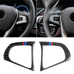 Car Tricolor Carbon Fiber Steering Wheel Button Configuration B Decorative Sticker for BMW 5 Series G30/G38 X3 G01/G08