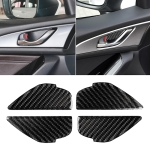 4 PCS Car Carbon Fiber Door Inner Handle Wrist Panel Decorative Sticker for Mazda Axela 2014 / 2017-2018