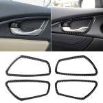 4 PCS Car Carbon Fiber Door Inner Wrist Frame Decorative Sticker for Honda Tenth Generation Civic 2016-2019