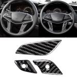 Car Carbon Fiber Steering Wheel Button Decorative Sticker for Cadillac XT5 2016-2017