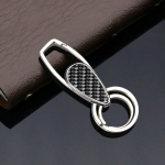Car Carbon Fiber Key Ring Bright Style Keychain