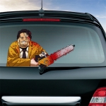 Chainsaw Killers Pattern Horror Series Car Rear Windshield Window Wiper Self-Adhesive Decorative Sticker