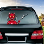 Devil Pattern Horror Series Car Rear Windshield Window Wiper Self-Adhesive Decorative Sticker