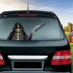 Reaper Scythe Pattern Horror Series Car Rear Windshield Window Wiper Self-Adhesive Decorative Sticker