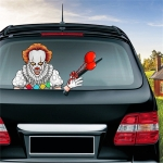 Clown Pattern Horror Series Car Rear Windshield Window Wiper Self-Adhesive Decorative Sticker