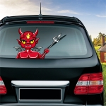 Little Devil Pattern Horror Series Car Rear Windshield Window Wiper Self-Adhesive Decorative Sticker