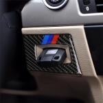 RRX CARBON Three Color Carbon Fiber Car Left Driving Ignition Switch Decorative Sticker for BMW E90 / E95 2005-2012
