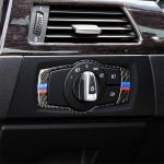Three Color Carbon Fiber Car Headlight Switch Decorative Sticker for BMW E90 / E92 / E93 2005-2012